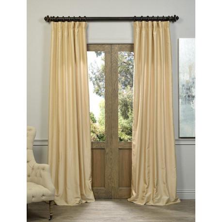 Almond Vintage Textured Faux Dupioni Silk Curtain – Curtain Drapery For Vintage Textured Faux Dupioni Silk Curtain Panels (Image 1 of 25)