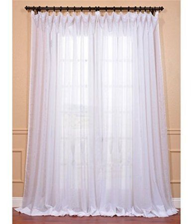 Amazon – Signature Double Layered White Double Wide Within Double Layer Sheer White Single Curtain Panels (Image 3 of 25)