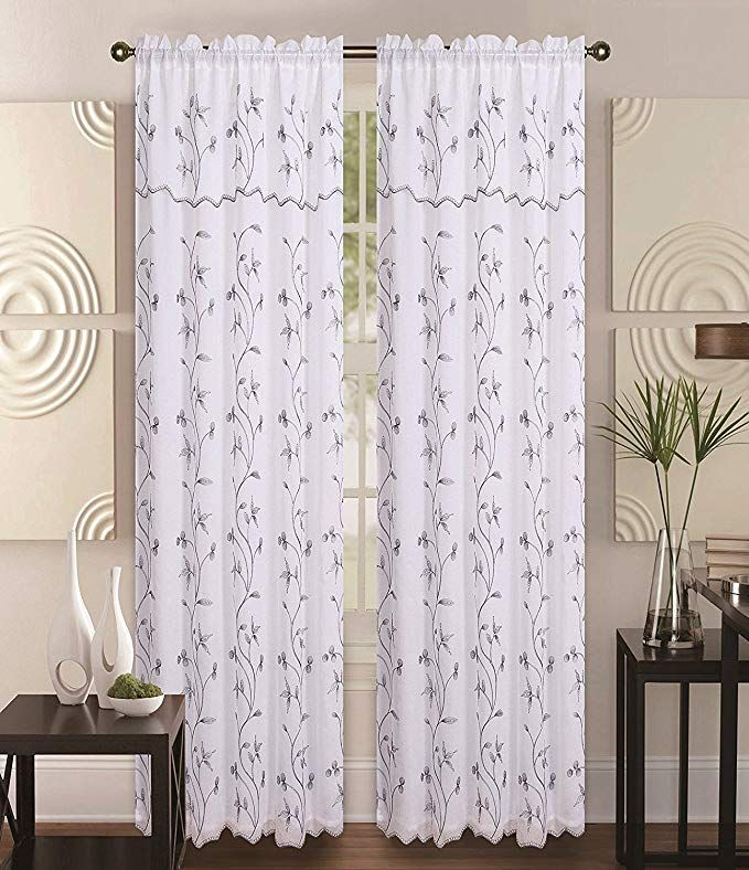 Amazonsmile: Double Layer Embroidery Floral Vine Sheer Front Inside Double Layer Sheer White Single Curtain Panels (Image 4 of 25)