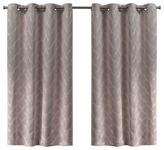 Amelia Embroidered Woven Blackout Grommet Top Curtain Panel Pair, Blush, 52X63 In Sateen Twill Weave Insulated Blackout Window Curtain Panel Pairs (View 23 of 25)
