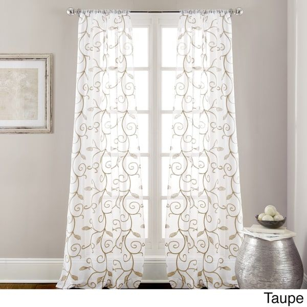 Amraupur Overseas Leaf Swirl Embroidered Curtain Panel Pair Pertaining To Overseas Faux Silk Blackout Curtain Panel Pairs (View 13 of 25)