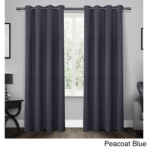 Ati Home Chevron Thermal Woven Blackout Grommet Top Curtain Intended For Woven Blackout Curtain Panel Pairs With Grommet Top (Image 3 of 25)