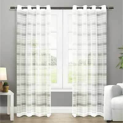 Ati Home Michel Sheer Grommet Top Curtain Panel Pair Intended For Wilshire Burnout Grommet Top Curtain Panel Pairs (Image 3 of 25)