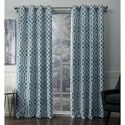 Ati Home Scrollwork Sateen Blackout Grommet Top Curtain With Regard To Sateen Twill Weave Insulated Blackout Window Curtain Panel Pairs (View 12 of 25)