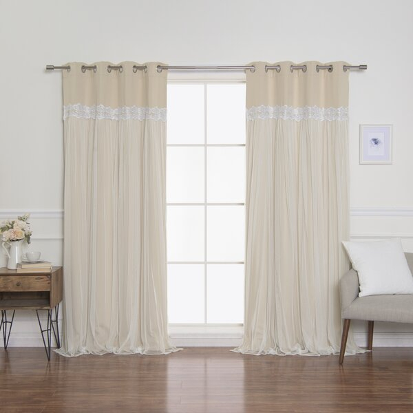 Aurora Home Curtains | Wayfair Regarding Star Punch Tulle Overlay Blackout Curtain Panel Pairs (View 13 of 25)