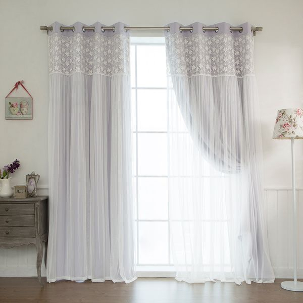 Aurora Home Floral Lace Overlay Thermal Insulated Blackout Inside Thermal Insulated Blackout Grommet Top Curtain Panel Pairs (View 11 of 25)