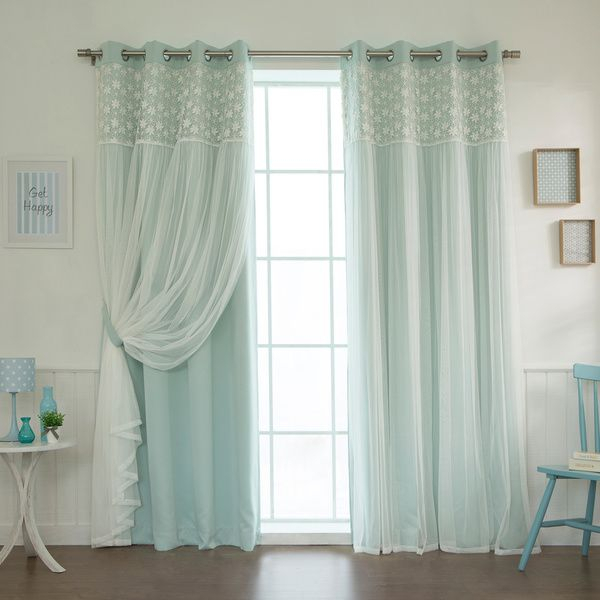 Aurora Home Floral Lace Overlay Thermal Insulated Blackout With Regard To Thermal Insulated Blackout Grommet Top Curtain Panel Pairs (Image 4 of 25)