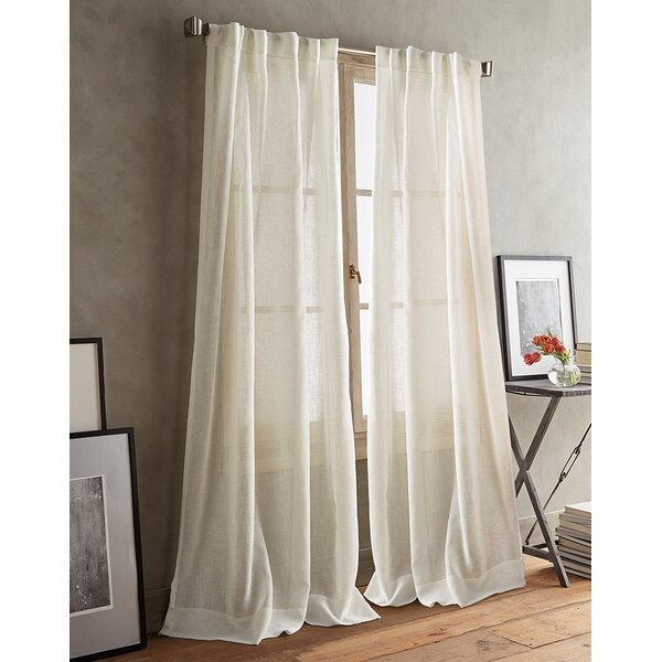 Back Tab White Sheer Curtains | Wayfair Within Double Layer Sheer White Single Curtain Panels (Image 5 of 25)