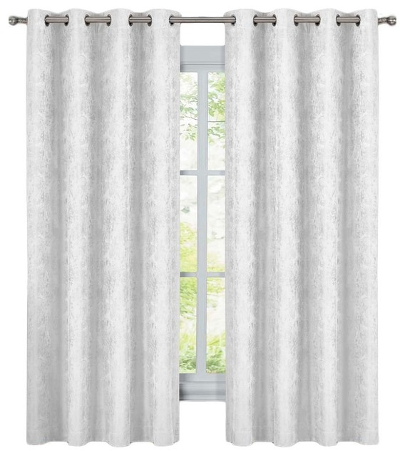 "Bali 2Pc Blackout Abstract Grommet Curtains, White, 108""x63"" Within Abstract Blackout Curtain Panel Pairs (Image 6 of 25)"