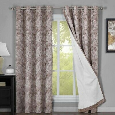 Bali Set Of 2 100% Blackout Curtains Upscaled Abstract Thermal Insulated  Grommet | Ebay Within Abstract Blackout Curtain Panel Pairs (Image 7 of 25)