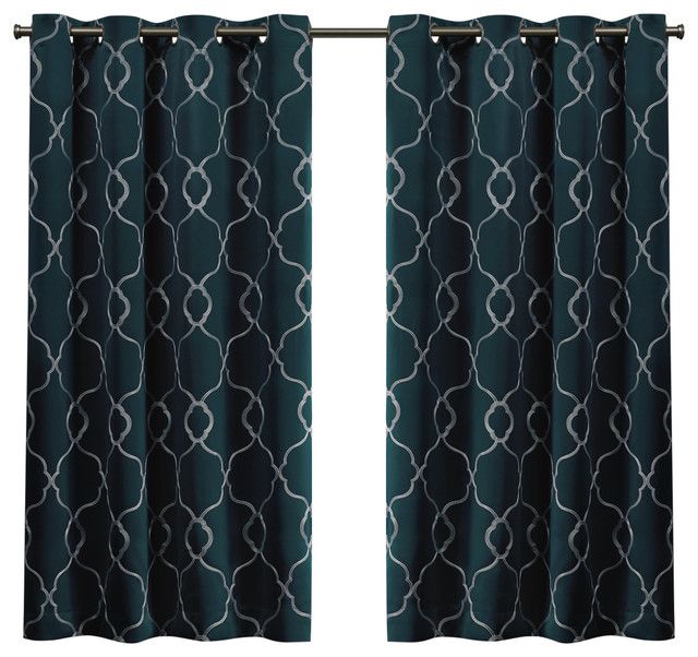 Belmont Embroidered Blackout Grommet Top Curtain Panel Pair Sapphire Teal  52X63 Throughout Woven Blackout Curtain Panel Pairs With Grommet Top (Image 5 of 25)