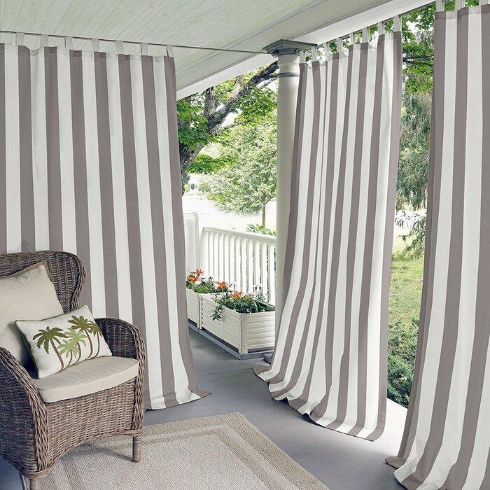 Berklee Striped Light Filtering Outdoor Tab Top Single Curtain Panel For Valencia Cabana Stripe Indoor/outdoor Curtain Panels (Image 4 of 25)