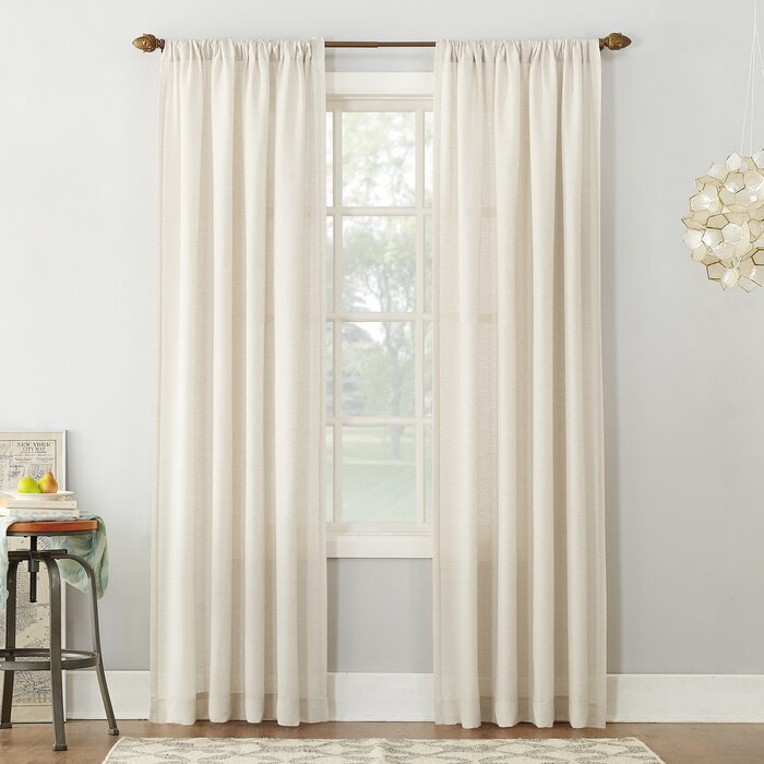 Berwick Linen Blend Solid Semi Sheer Rod Pocket Single Curtain Panel Intended For Vue Elements Priya Tab Top Window Curtains (Image 10 of 25)