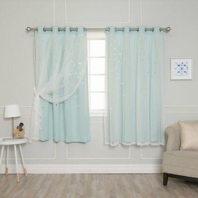 Best Home Fashion Tulle Overlay Star Cut Out Blackout Curtains | Ebay With Star Punch Tulle Overlay Blackout Curtain Panel Pairs (View 9 of 25)