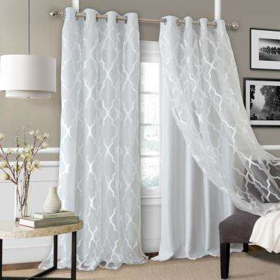 Bethany Sheer Overlay Blackout Window Curtain For Double Layer Sheer White Single Curtain Panels (Image 6 of 25)