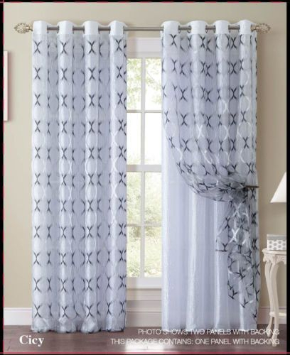 Black And White Double Layer Window Curtain Panel: Silver For Double Layer Sheer White Single Curtain Panels (Image 7 of 25)