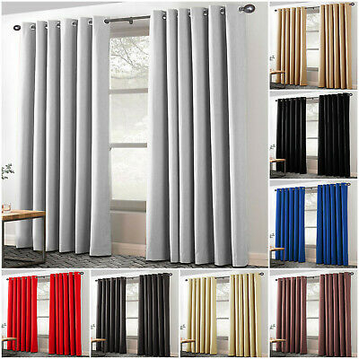 Blackout Curtains Room Darkening Thermal Insulated Curtain Pair Eyelet Ring Top With Regard To Thermal Insulated Blackout Curtain Pairs (View 14 of 25)