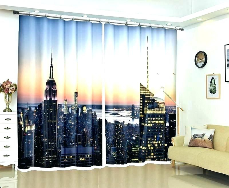 Blackout Curtains Skyline City Panels Decorating Living Room Within Overseas Faux Silk Blackout Curtain Panel Pairs (View 18 of 25)