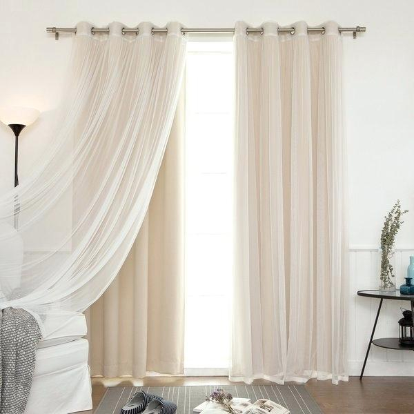 Blackout Curtains With Sheer Overlay – Newmobilephone With Regard To Star Punch Tulle Overlay Blackout Curtain Panel Pairs (View 20 of 25)