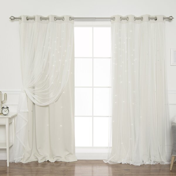 Blackout Curtains With Stars | Wayfair With Star Punch Tulle Overlay Blackout Curtain Panel Pairs (View 15 of 25)