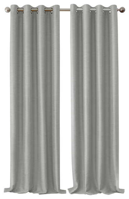 "Brooke Faux Silk Blackout Grommet Curtain Panel, Gray, 52""x84"" In Overseas Faux Silk Blackout Curtain Panel Pairs (View 3 of 25)"