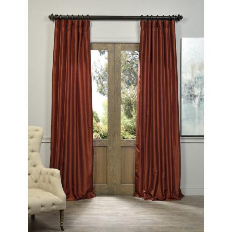Burnt Orange Vintage Textured Faux Dupioni Silk Curtain –  Curtain Drapery Regarding Vintage Faux Textured Dupioni Silk Curtain Panels (Image 2 of 25)