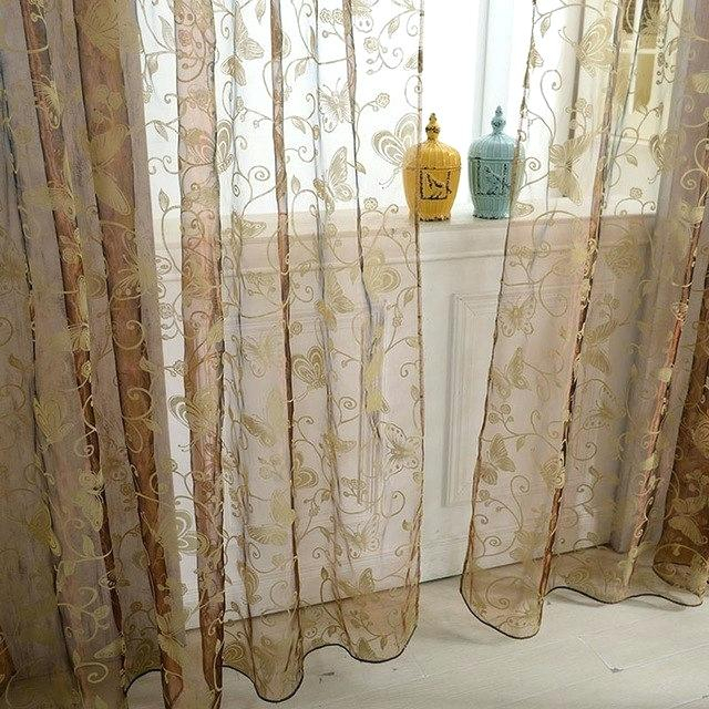 Butterfly Sheer Voile Curtains Panel Floral Pattern Pertaining To Emily Sheer Voile Single Curtain Panels (View 15 of 25)