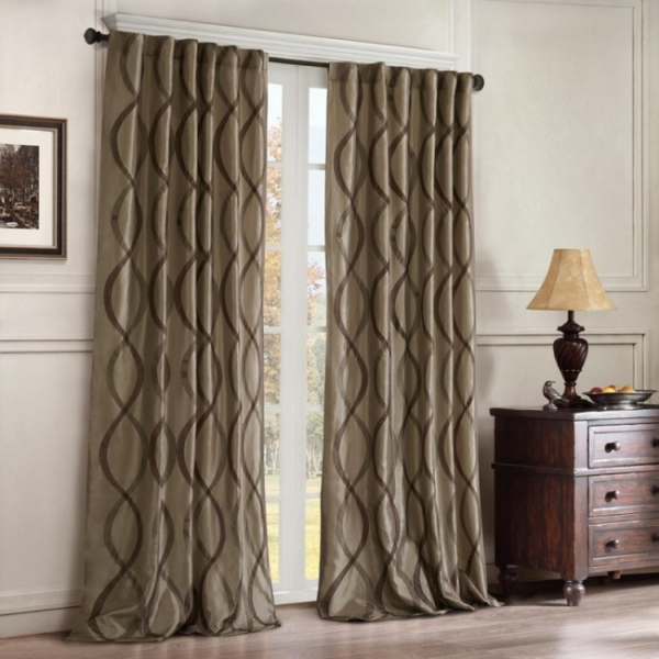Buy Madison Park Whitman 1 Pair Curtain Panels Blue Taupe Throughout Whitman Curtain Panel Pairs (Image 3 of 25)