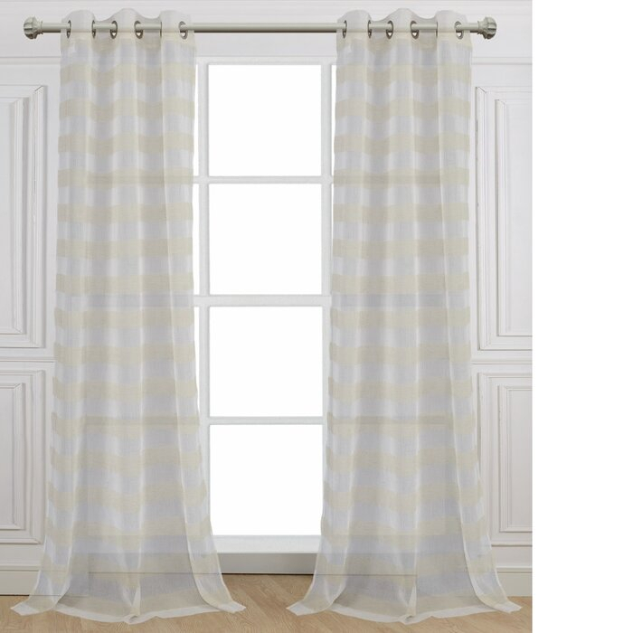 Cabana Striped Sheer Grommet Curtain Panels With Julia Striped Room Darkening Window Curtain Panel Pairs (Image 4 of 25)