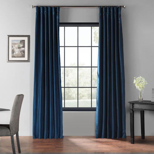Captain Blue 96 X 50 Inch Blackout Vintage Textured Faux Dupioni Silk  Curtain Single Panel Regarding Vintage Faux Textured Dupioni Silk Curtain Panels (Image 3 of 25)