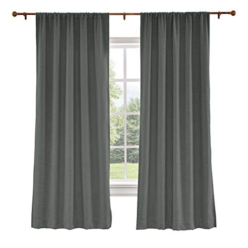 Chadmade Extra Wide Curtains 120W X 96L Inch Carbon Grey Linen Polyester Curtain Drapes With Blackout Lining Rod Pocket Curtains Patio Door Living For Faux Linen Extra Wide Blackout Curtains (View 12 of 25)