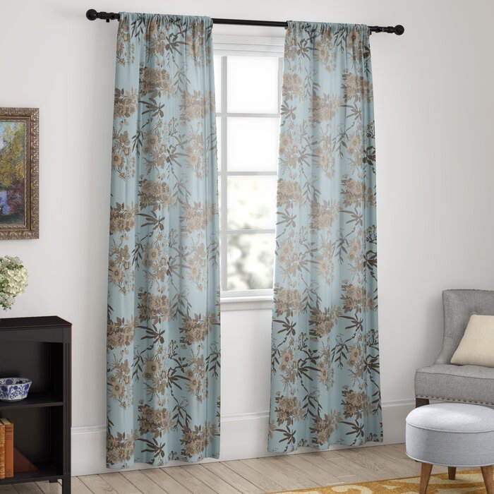 Chapin Floral Room Darkening Thermal Rod Pocket Curtain Panels Pertaining To Whitman Curtain Panel Pairs (Image 4 of 25)