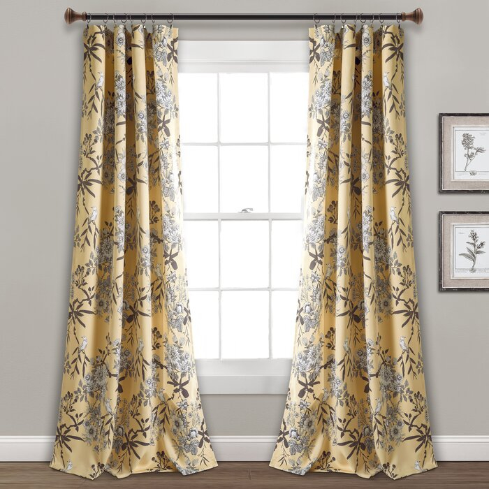 Chapin Floral Room Darkening Thermal Rod Pocket Curtain Panels Regarding Whitman Curtain Panel Pairs (Image 5 of 25)