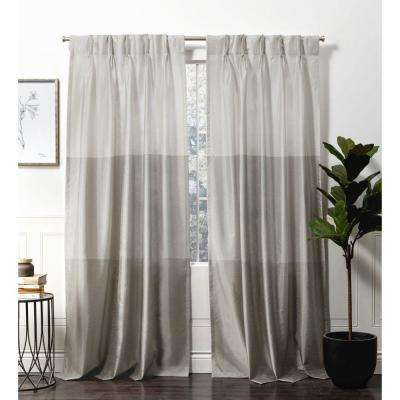 Chateau Dove Grey Room Darkening Triple Pinch Pleat Top Curtain Panel – 27  In. W X 96 In (Image 3 of 25)