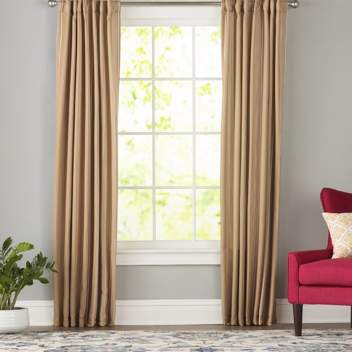 Cheesman Striped Room Darkening Thermal Rod Pocket Curtain Panels Inside Dolores Room Darkening Floral Curtain Panel Pairs (Image 3 of 25)