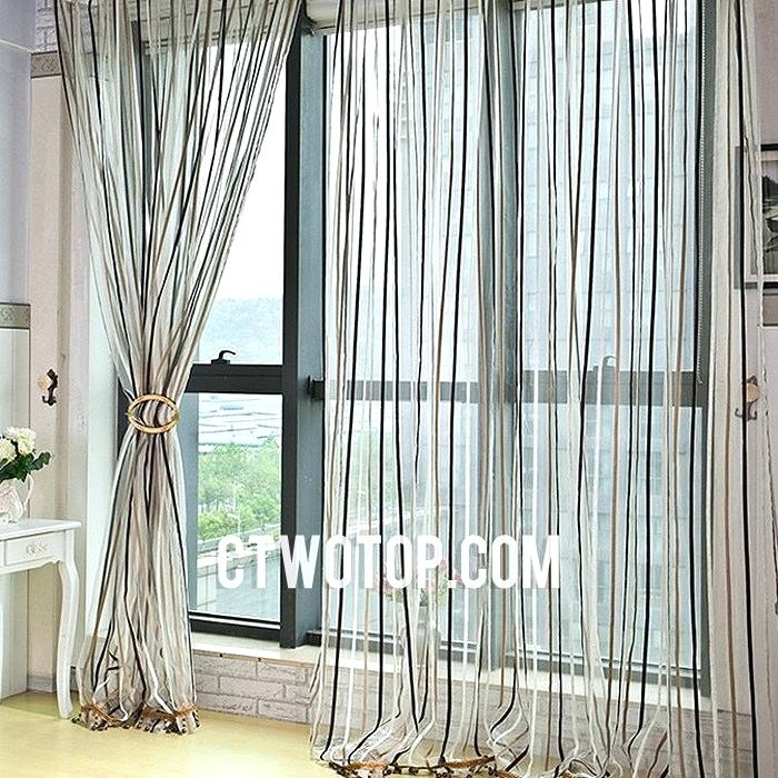 Chocolate Sheer Curtains Wavy Leaves Embroidered Grommet Inside Wavy Leaves Embroidered Sheer Extra Wide Grommet Curtain Panels (View 15 of 25)
