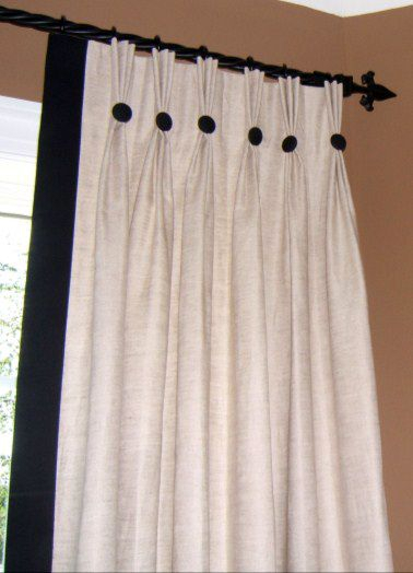 Classic Pinch Pleat Panels With Edge Band And Buttons Inside Double Pinch Pleat Top Curtain Panel Pairs (Image 4 of 25)