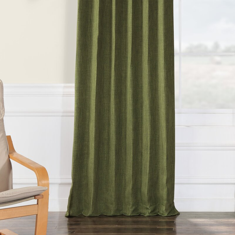 Clem Blackout Rod Pocket Single Curtain Panel In Heavy Faux Linen Single Curtain Panels (Image 7 of 25)