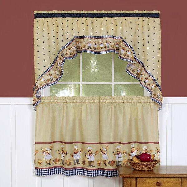 Cucina Swag Tier Kitchen Curtain Inside Vina Sheer Bird Single Curtain Panels (Image 9 of 25)