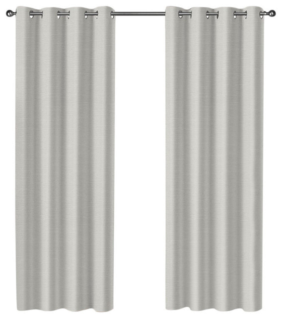 "Curtain Panel Pair, Set Of 2, Vanilla, 52""x84"" With Woven Blackout Grommet Top Curtain Panel Pairs (Image 7 of 25)"