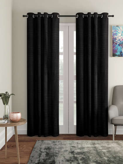 Curtains & Sheers – Buy Curtain & Sheer Online In India | Myntra Pertaining To Warm Black Velvet Single Blackout Curtain Panels (Image 5 of 25)