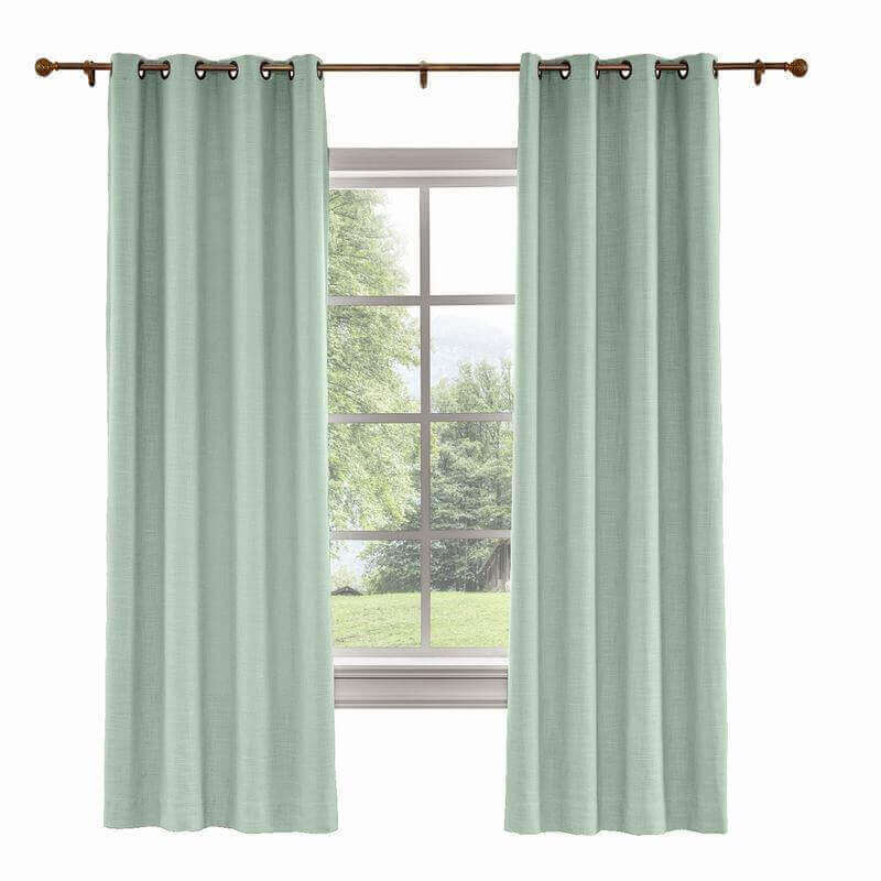 Custom Liz Aqua Polyester Linen Curtain Drapery With Lined Pertaining To Heavy Faux Linen Single Curtain Panels (Image 9 of 25)
