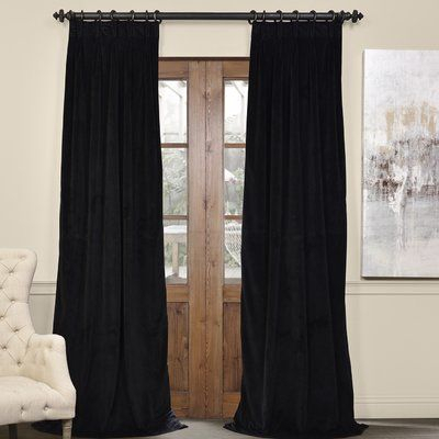 Darby Home Co Balone Solid Max Blackout Thermal Pinch Pleat With Warm Black Velvet Single Blackout Curtain Panels (Image 6 of 25)
