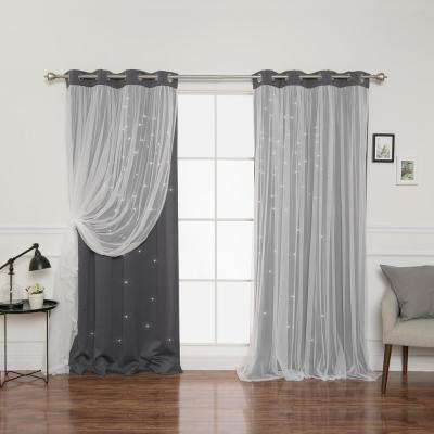 Dark Grey – Window Treatments – The Home Depot Within Star Punch Tulle Overlay Blackout Curtain Panel Pairs (View 16 of 25)