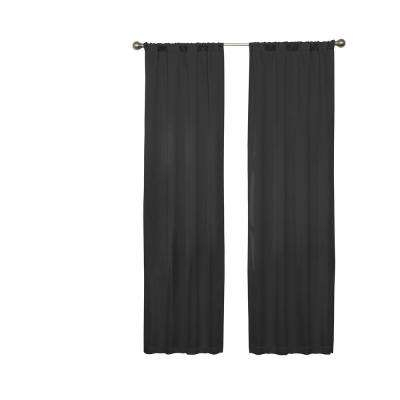 Darrell Blackout Window Curtain Panel In Black – 37 In. W X 63 In (Image 7 of 25)