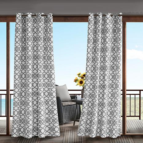 Daven Fretwork 3M Scotchgard Outdoor Panel Curtain – Gray Inside Whitman Curtain Panel Pairs (Image 7 of 25)