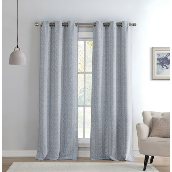 Davis Knit Geometric Blackout Grommet Curtain Panels In Davis Patio Grommet Top Single Curtain Panels (Image 6 of 25)