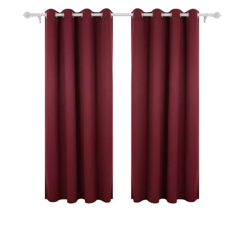 Deconovo Ring Top Door Curtains Thermal Eyelet Curtains Thermal Insulated Blackout Curtains For Bedroom 52 X 84 Red 1 Pair Ngkdwpmqf With Regard To Thermal Insulated Blackout Curtain Pairs (View 4 of 25)