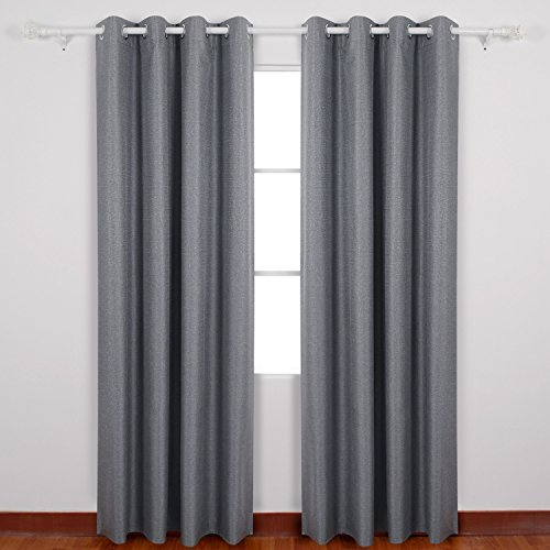 Deconovo Textured Thermal Insulated Blackout Curtain Heavy Fabric Drapes With Coating Back Layer For Bedroom 52Wx63L Inch One Pair Grey Pertaining To Thermal Insulated Blackout Curtain Pairs (View 7 of 25)