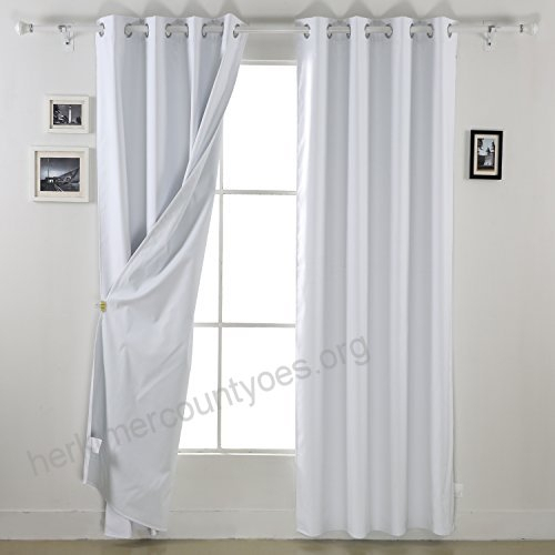 Deconovo White Blackout Curtains Pair Thermal Insulated Pertaining To Thermal Insulated Blackout Curtain Pairs (View 20 of 25)